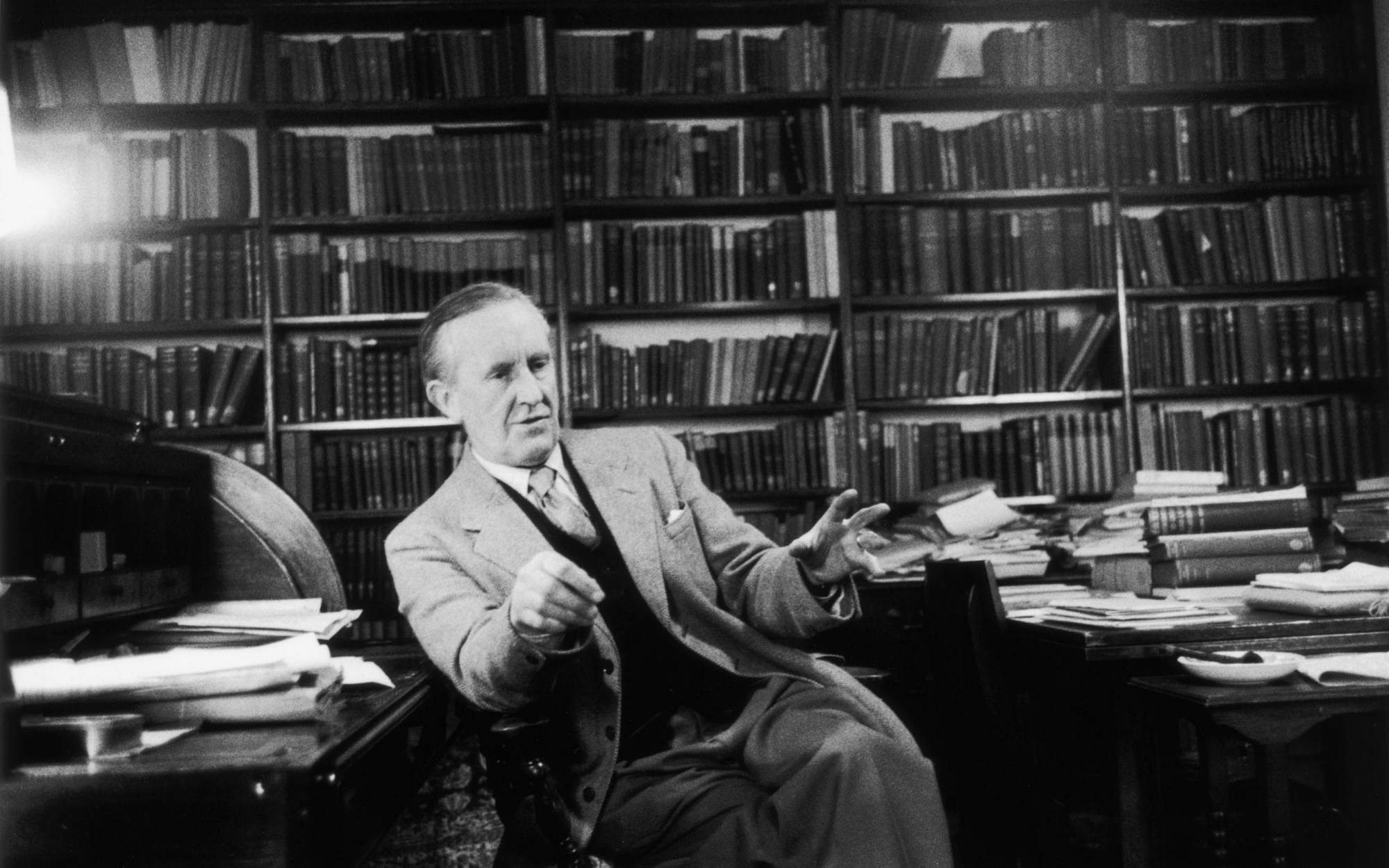 Professor JRR Tolkien in his study in Oxford